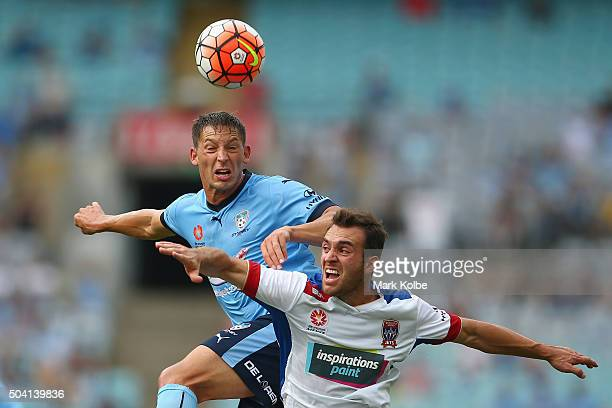Filip Holosko of Sydney FC and Ben Kantarovski of the Jets compete for the ball during the round 14 ALeague match between Sydney FC and the Newcastle...
