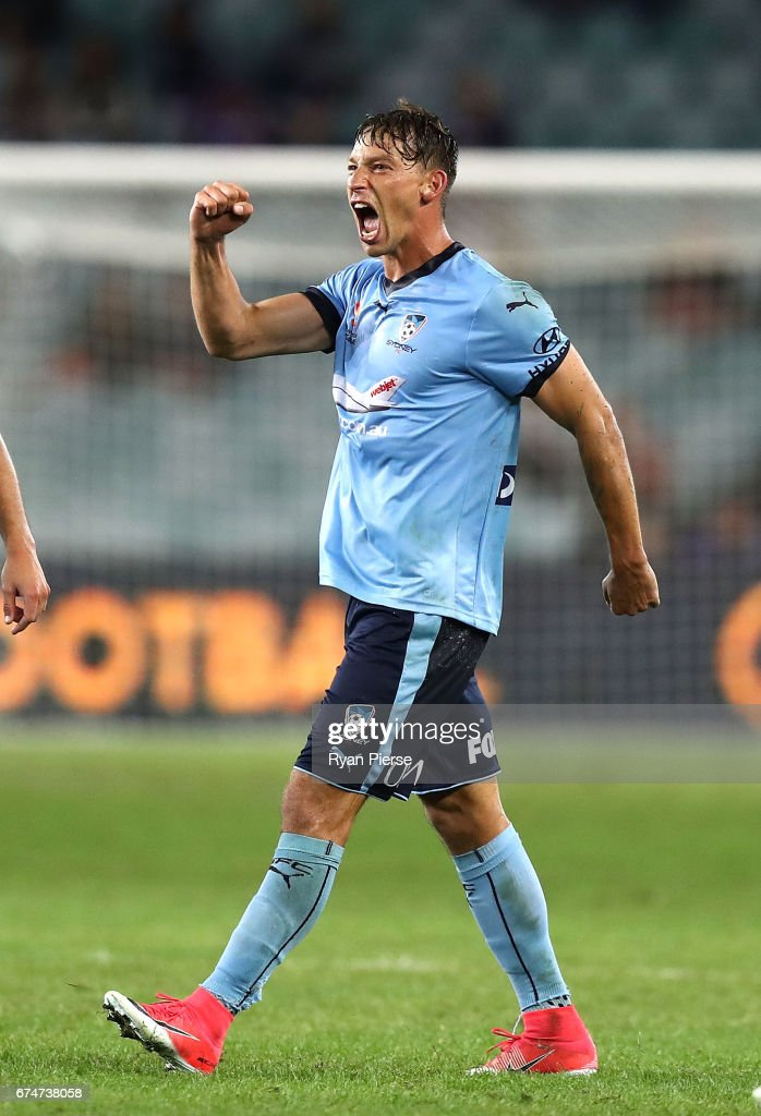 Filip Holosko of Sydney FC celebrates after scoring his teams third goal during the A-League Semi Final match between Sydney FC and the Perth Glory at Allianz Stadium on April 29, 2017 in Sydney, Australia.