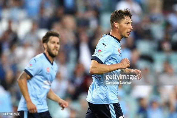 Filip Holosko of Sydney FC celebrates kicking a penalty during the round two ALeague match between Sydney FC and the Central Coast Mariners at...