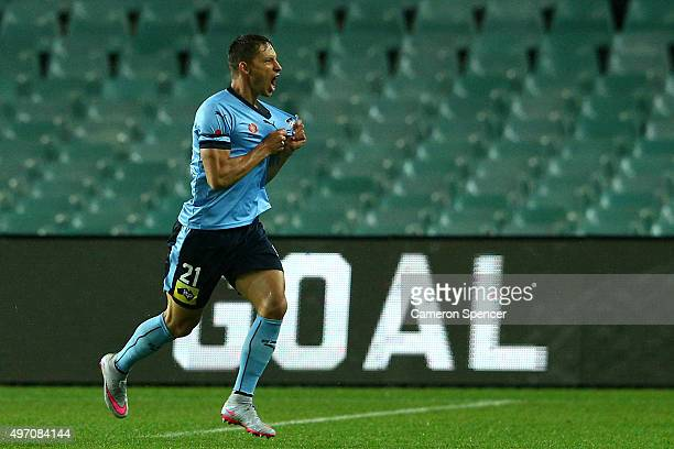 Filip Holosko of Sydney FC celebrates scoring a goal during the round six ALeague match between Sydney FC and Melbourne Victory at Allianz Stadium on...