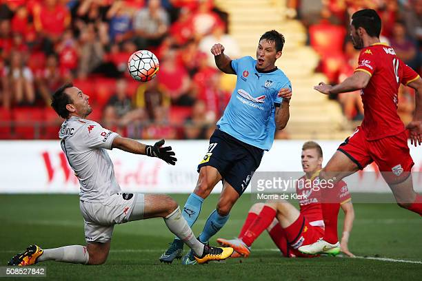 Filip Holosko of Sydney gets the ball past United goalkeeper Eugene Galekovic to score a goal during the round 18 ALeague match between Adelaide...