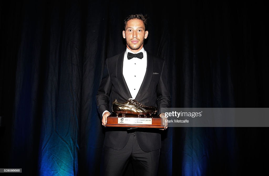 <a gi-track='captionPersonalityLinkClicked' href=/galleries/search?phrase=Filip+Holosko&family=editorial&specificpeople=850926 ng-click='$event.stopPropagation()'>Filip Holosko</a> poses with the Sydney FC Golden Boot award during the Sydney FC Sky Blue Ball at the Sydney Cricket Ground on May 6, 2016 in Sydney, Australia.