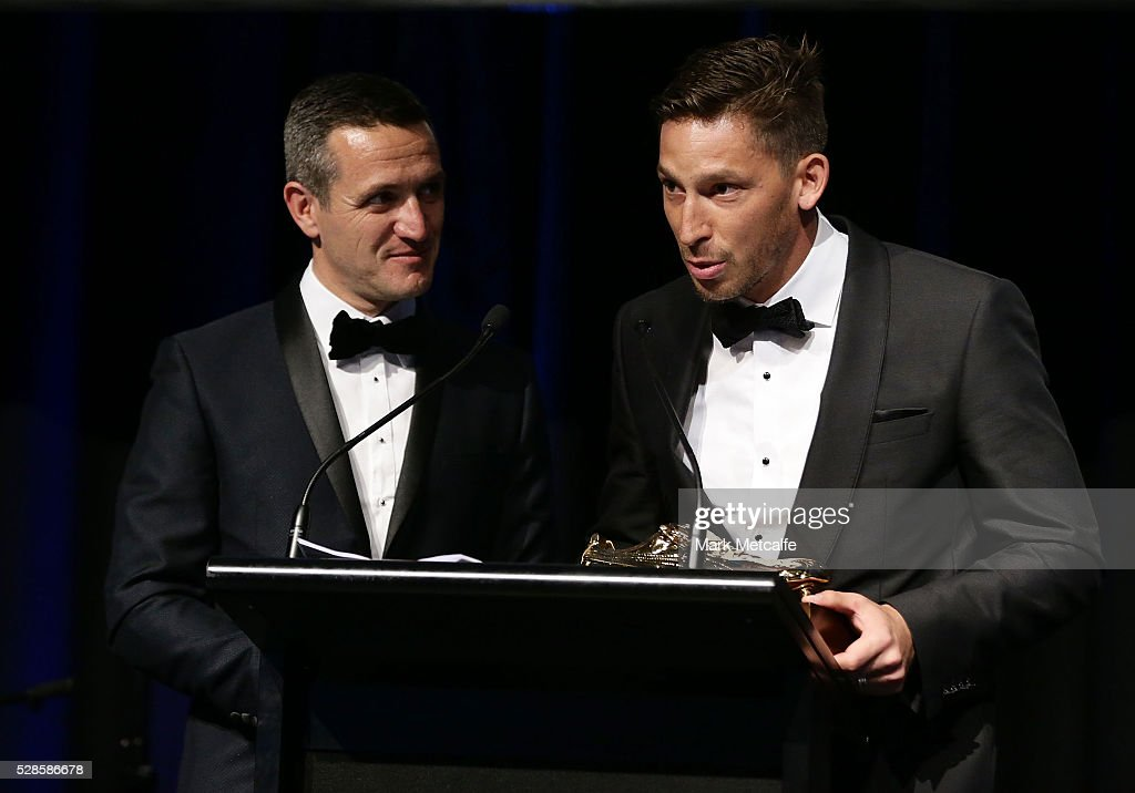 <a gi-track='captionPersonalityLinkClicked' href=/galleries/search?phrase=Filip+Holosko&family=editorial&specificpeople=850926 ng-click='$event.stopPropagation()'>Filip Holosko</a> speaks after winning the Sydney FC Golden Boot award during the Sydney FC Sky Blue Ball at the Sydney Cricket Ground on May 6, 2016 in Sydney, Australia.