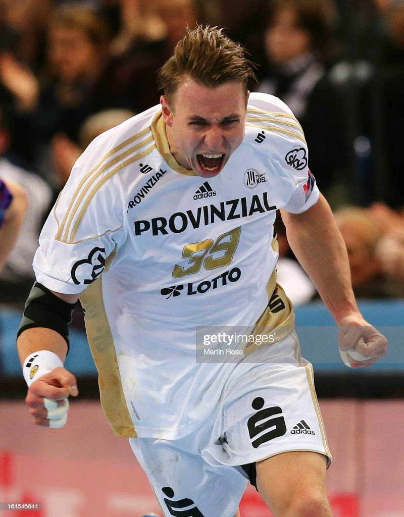 <a gi-track='captionPersonalityLinkClicked' href=/galleries/search?phrase=Filip+Jicha&family=editorial&specificpeople=620584 ng-click='$event.stopPropagation()'>Filip Jicha</a> of Kiel celebrates after scoring during the EHF Champions League second leg round of sixteen match between THW Kiel and Chekhovskie Medvedi at Sparkassen Arena on March 24, 2013 in Kiel, Germany.