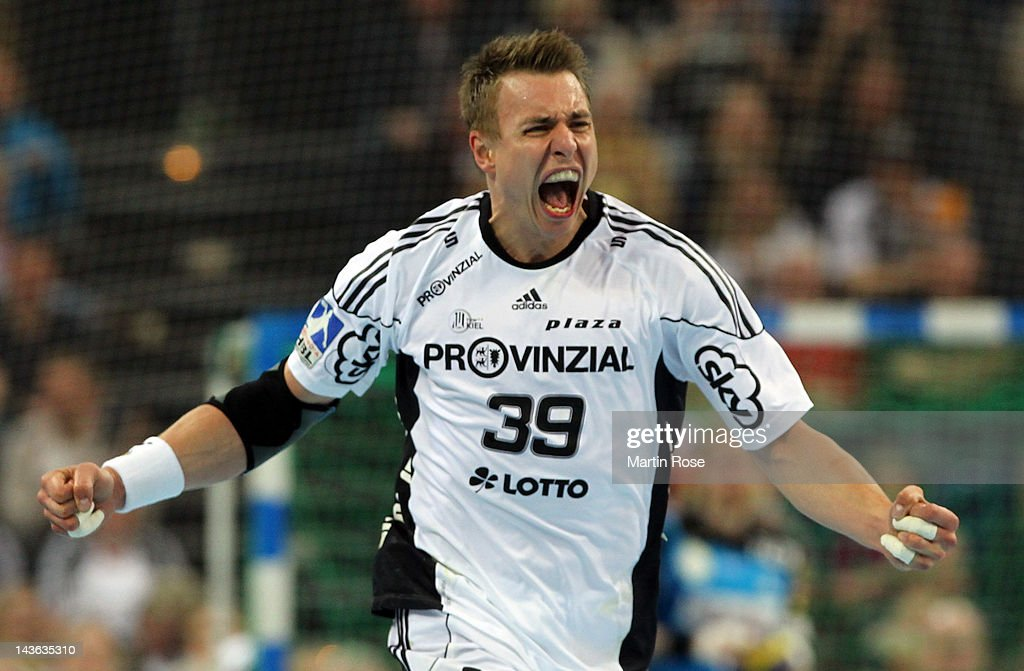 <a gi-track='captionPersonalityLinkClicked' href=/galleries/search?phrase=Filip+Jicha&family=editorial&specificpeople=620584 ng-click='$event.stopPropagation()'>Filip Jicha</a> of Kiel celebrates after scoring during the Toyota Handball Bundesliga match between THW Kiel and SC Magdeburg at Sparkassen Arena on May 1, 2012 in Kiel, Germany.