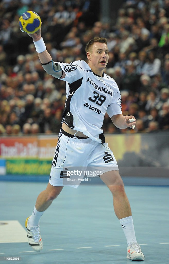 <a gi-track='captionPersonalityLinkClicked' href=/galleries/search?phrase=Filip+Jicha&family=editorial&specificpeople=620584 ng-click='$event.stopPropagation()'>Filip Jicha</a> of Kiel in action during the Toyota Bundesliga match between THW Kiel and HBW Balingen-Weilstetten at the Sparkassen Arena on March 7, 2012 in Kiel, Germany.