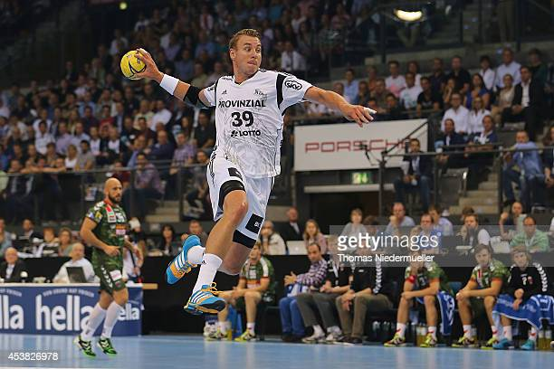 Filip Jicha of Kiel in action with the ball during the DKB HBL Supercup match between THW Kiel and Fuechse Berlin at Porsche Arena on August 19 2014...