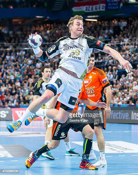 Filip Jicha of Kiel scores during the VELUX EHF Champions League Quarter Final between THW Kiel and Pick Szeged at Sparkassen Arena on April 19 2015...