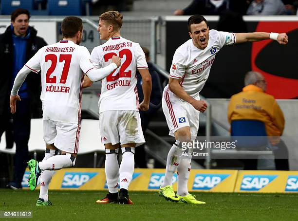 Filip Kostic of Hamburg celebrates after he scores the opening goal during the Bundesliga match between TSG 1899 Hoffenheim and Hamburger SV at...