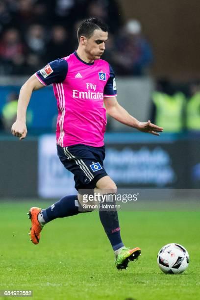 Filip Kostic of Hamburg controls the ball during the Bundesliga match between Eintracht Frankfurt and Hamburger SV at CommerzbankArena on March 18...
