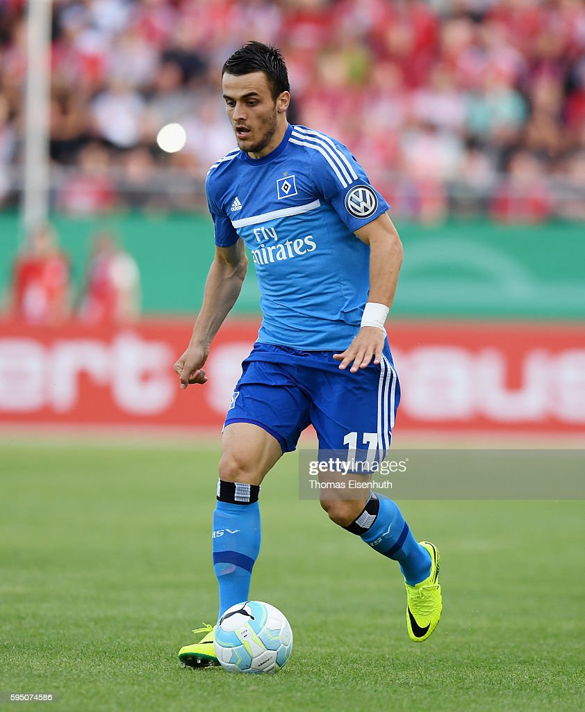 Filip Kostic of Hamburg during the DFB Cup match between FSV Zwickau and Hamburger SV at Stadion Zwickau on August 22, 2016 in Zwickau, Germany.
