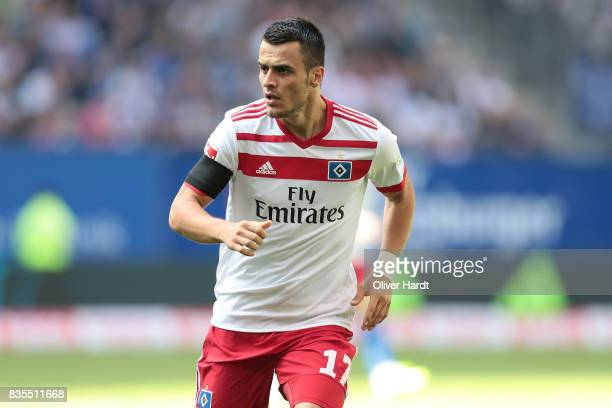 Filip Kostic of Hamburg in action during the Bundesliga match between Hamburger SV and FC Augsburg at Volksparkstadion on August 19 2017 in Hamburg...