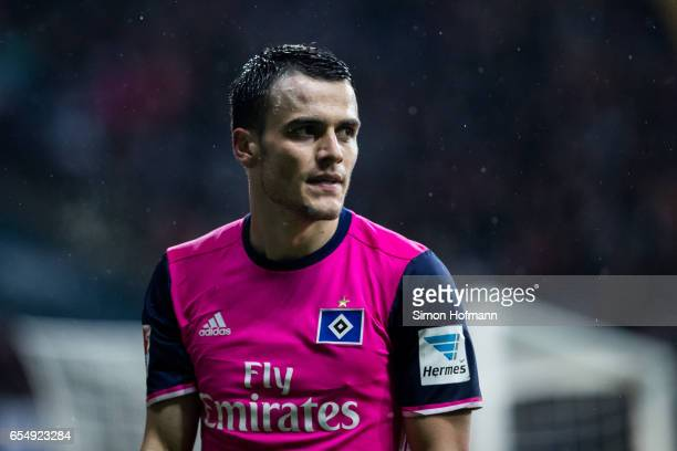 Filip Kostic of Hamburg looks on during the Bundesliga match between Eintracht Frankfurt and Hamburger SV at CommerzbankArena on March 18 2017 in...
