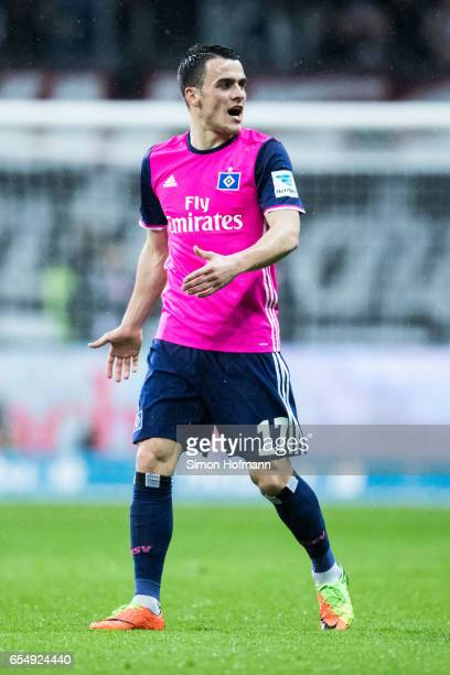 Filip Kostic of Hamburg reacts during the Bundesliga match between Eintracht Frankfurt and Hamburger SV at CommerzbankArena on March 18 2017 in...