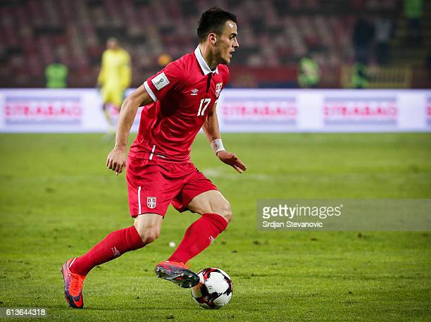 Filip Kostic of Serbia in action during the FIFA 2018 World Cup Qualifier between Serbia and Austria at stadium Rajko Mitic on October 9 2016 in...