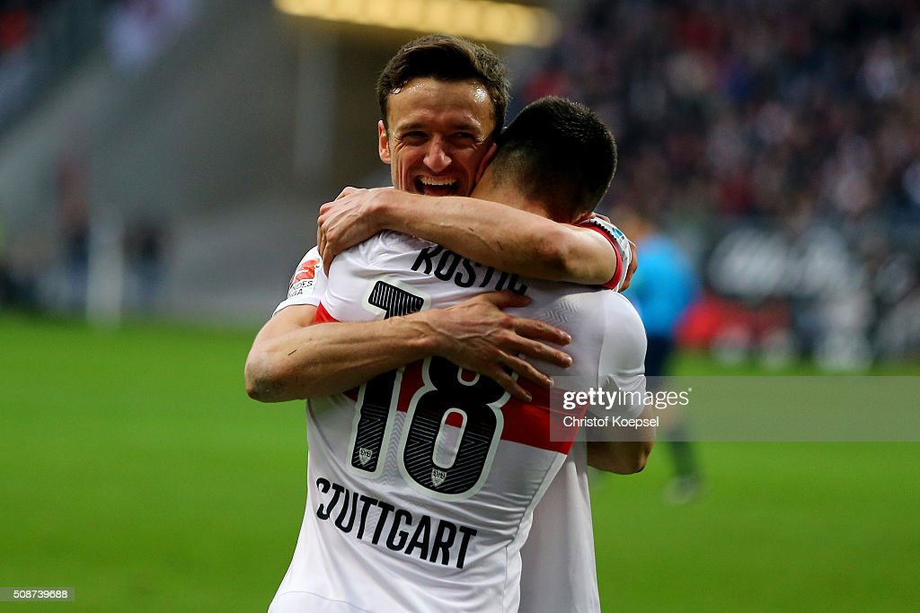 Filip Kostic of Stuttgart celebrates the forth goal with <a gi-track='captionPersonalityLinkClicked' href=/galleries/search?phrase=Christian+Gentner&family=editorial&specificpeople=228707 ng-click='$event.stopPropagation()'>Christian Gentner</a> (L) during the Bundesliga match between Eintracht Frankfurt and VfB Stuttgart at Commerzbank-Arena on February 6, 2016 in Frankfurt am Main, Germany.