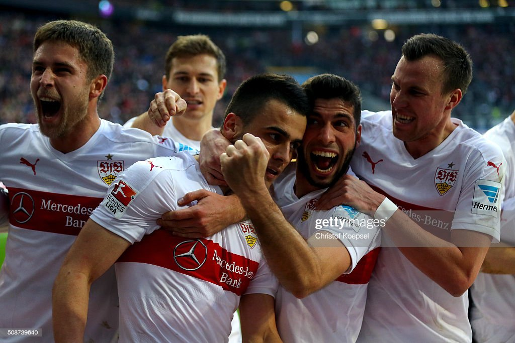 Filip Kostic of Stuttgart (2nd L) celebrtaes the forth goal with Florian Klein (L), <a gi-track='captionPersonalityLinkClicked' href=/galleries/search?phrase=Emiliano+Insua&family=editorial&specificpeople=4125596 ng-click='$event.stopPropagation()'>Emiliano Insua</a> (2nd R) and <a gi-track='captionPersonalityLinkClicked' href=/galleries/search?phrase=Kevin+Grosskreutz&family=editorial&specificpeople=4265546 ng-click='$event.stopPropagation()'>Kevin Grosskreutz</a> (R) during the Bundesliga match between Eintracht Frankfurt and VfB Stuttgart at Commerzbank-Arena on February 6, 2016 in Frankfurt am Main, Germany.