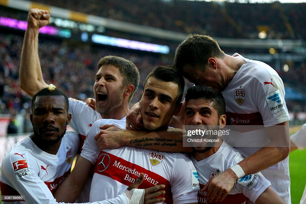 Filip Kostic of Stuttgart celebrtaes the forth goal (C) with his team mates during the Bundesliga match between Eintracht Frankfurt and VfB Stuttgart at Commerzbank-Arena on February 6, 2016 in Frankfurt am Main, Germany.