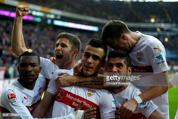 Filip Kostic of Stuttgart celebrtaes the forth goal with his team mates during the Bundesliga match between Eintracht Frankfurt and VfB Stuttgart at...