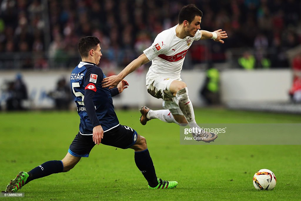 Filip Kostic of Stuttgart eludes Fabian Schaer of Hoffenheim during the Bundesliga match between VfB Stuttgart and 1899 Hoffenheim at Mercedes-Benz Arena on March 5, 2016 in Stuttgart, Germany.