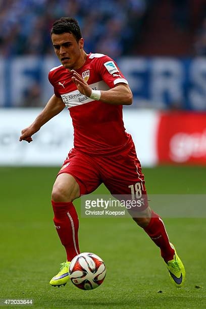 Filip Kostic of Stuttgart runs with the ball during the Bundesliga match between FC Schalke 04 and VfB Stuttgart at Veltins Arena on May 2 2015 in...