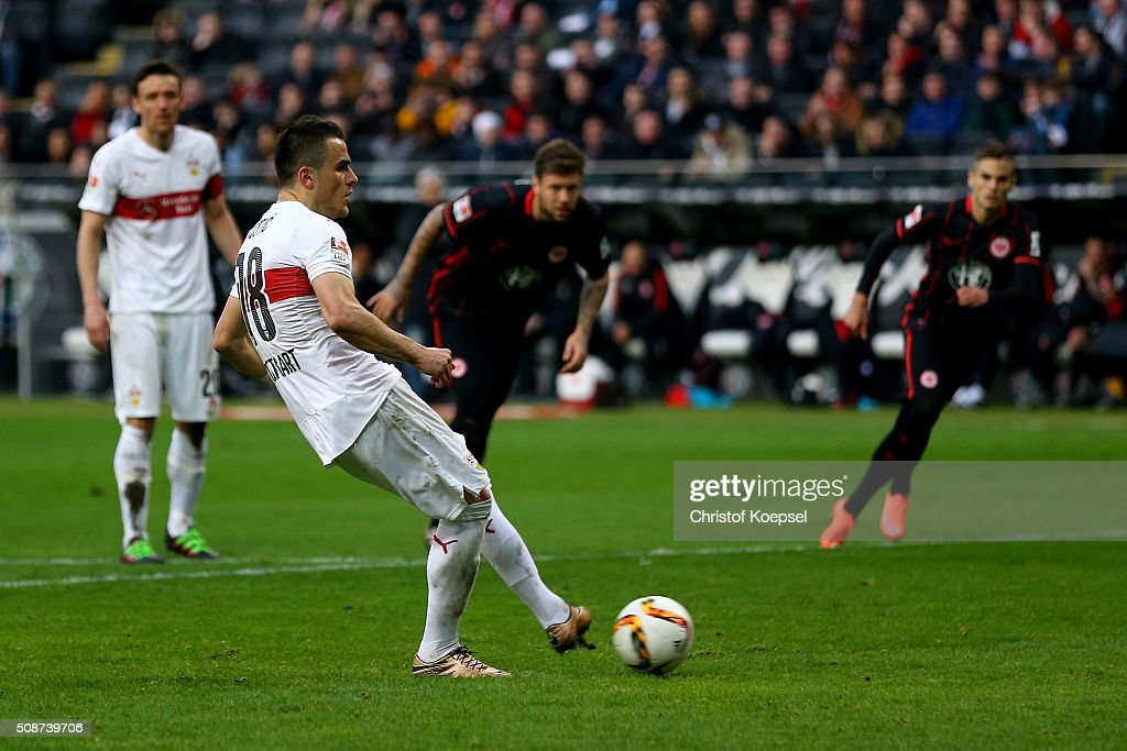 Filip Kostic of Stuttgart scores the forth goal by penalty during the Bundesliga match between Eintracht Frankfurt and VfB Stuttgart at Commerzbank-Arena on February 6, 2016 in Frankfurt am Main, Germany.