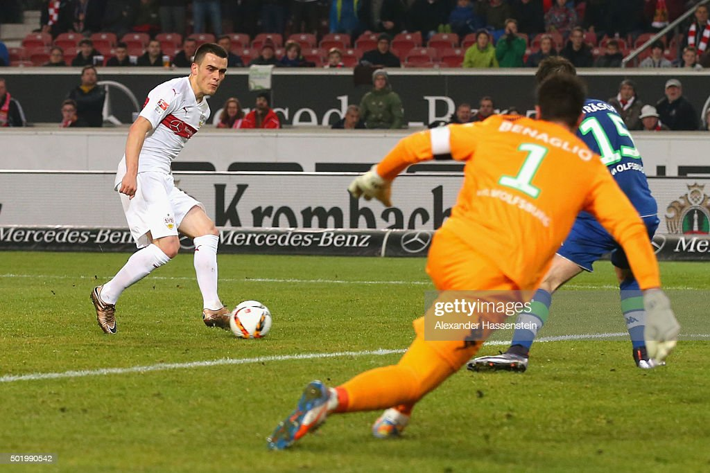 Filip Kostic of Stuttgart scores the second team goal during the Bundesliga match between VfB Stuttgart and VfL Wolfsburg at MercedesBenz Arena on...