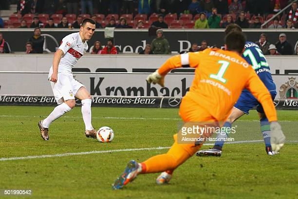 Filip Kostic of Stuttgart scores the second team goal during the Bundesliga match between VfB Stuttgart and VfL Wolfsburg at MercedesBenz Arena on...