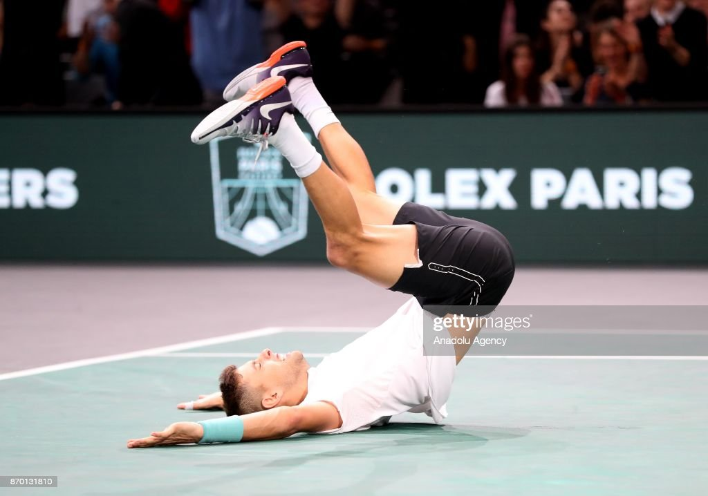 Filip Krajinovic of Serbia celebrates his victory against John Isner of the US during their semifinal match at the Paris Masters tennis tournament, at the Bercy Arena in Paris, France on November 4, 2017.