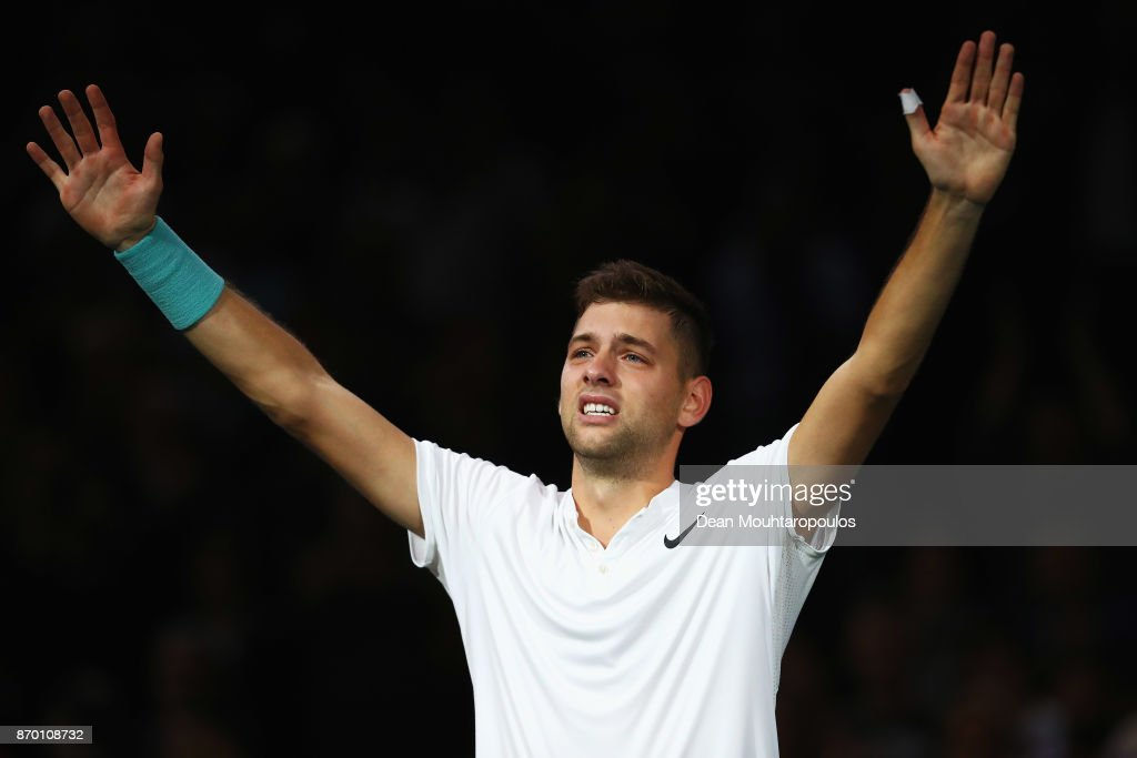 Filip Krajinovic of Serbia celebrates with tears in his eyes after victory against John Isner of the USA during the semi finals on day 6 of the Rolex Paris Masters held at the AccorHotels Arena on November 4, 2017 in Paris, France.