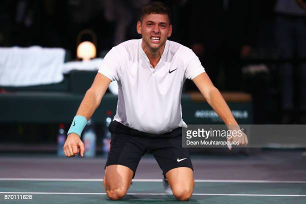 Filip Krajinovic of Serbia celebrates with tears in his eyes after victory against John Isner of the USA during the semi finals on day 6 of the Rolex...
