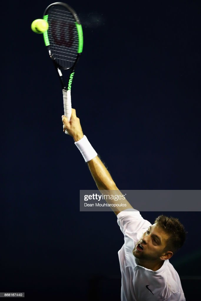 Filip Krajinovic of Serbia competes against Yuichi Sugita of Japan during Day 1 of the Rolex Paris Masters held at the AccorHotels Arena on October 30, 2017 in Paris, France.