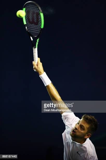 Filip Krajinovic of Serbia competes against Yuichi Sugita of Japan during Day 1 of the Rolex Paris Masters held at the AccorHotels Arena on October...