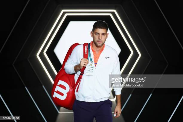 Filip Krajinovic of Serbia is walks out the players tunnel prior to his match against Jack Sock of the USA during the Mens Final on day 7 of the...