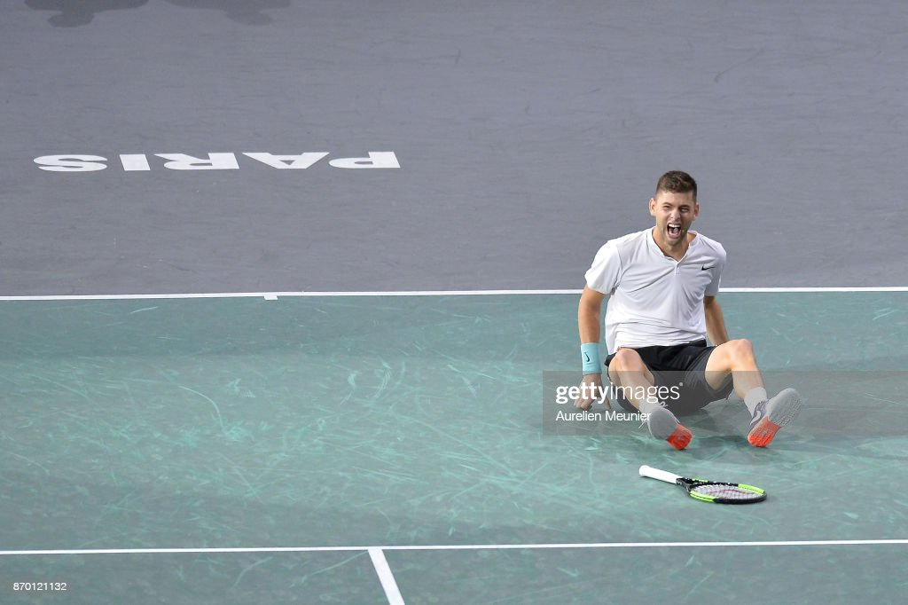 Filip Krajinovic of Serbia reacts after winning his men's singles semi final match against John Isner of the United States of America during day six of the Rolex Paris Masters at Palais Omnisports de Bercy on November 4, 2017 in Paris, France.