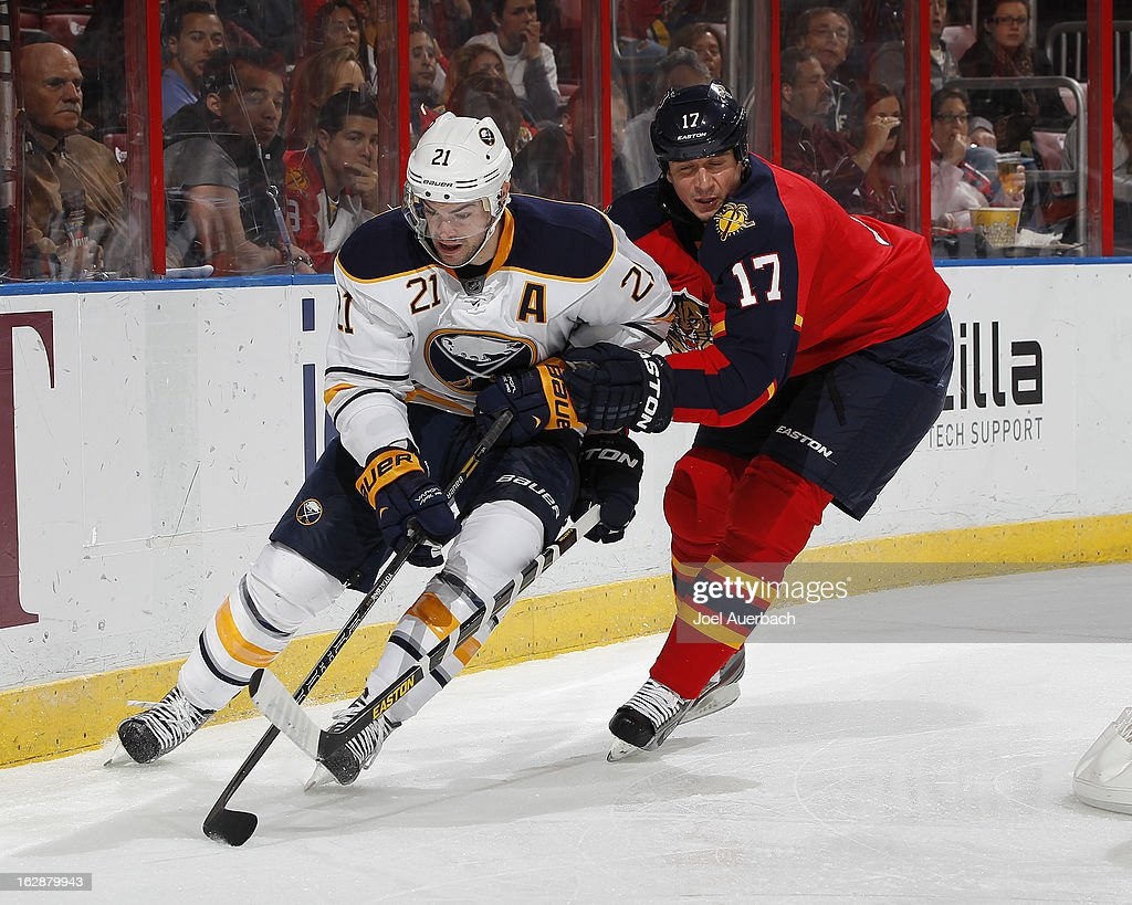 Filip Kuba #17 of the Florida Panthers and Drew Stafford #21 of the Buffalo Sabres skate after a loose puck during the sec on period at the BB&T Center on February 28, 2013 in Sunrise, Florida.
