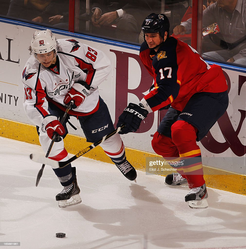<a gi-track='captionPersonalityLinkClicked' href=/galleries/search?phrase=Filip+Kuba&family=editorial&specificpeople=209425 ng-click='$event.stopPropagation()'>Filip Kuba</a> #17 of the Florida Panthers crosses sticks with Jay Beagle #83 of the Washington Capitals at the BB&T Center on April 6, 2013 in Sunrise, Florida.