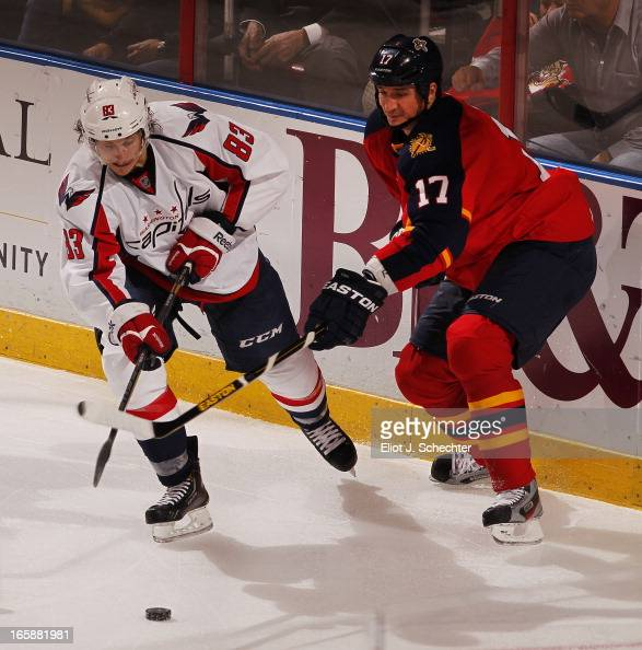 Filip Kuba of the Florida Panthers crosses sticks with Jay Beagle of the Washington Capitals at the BBT Center on April 6 2013 in Sunrise Florida