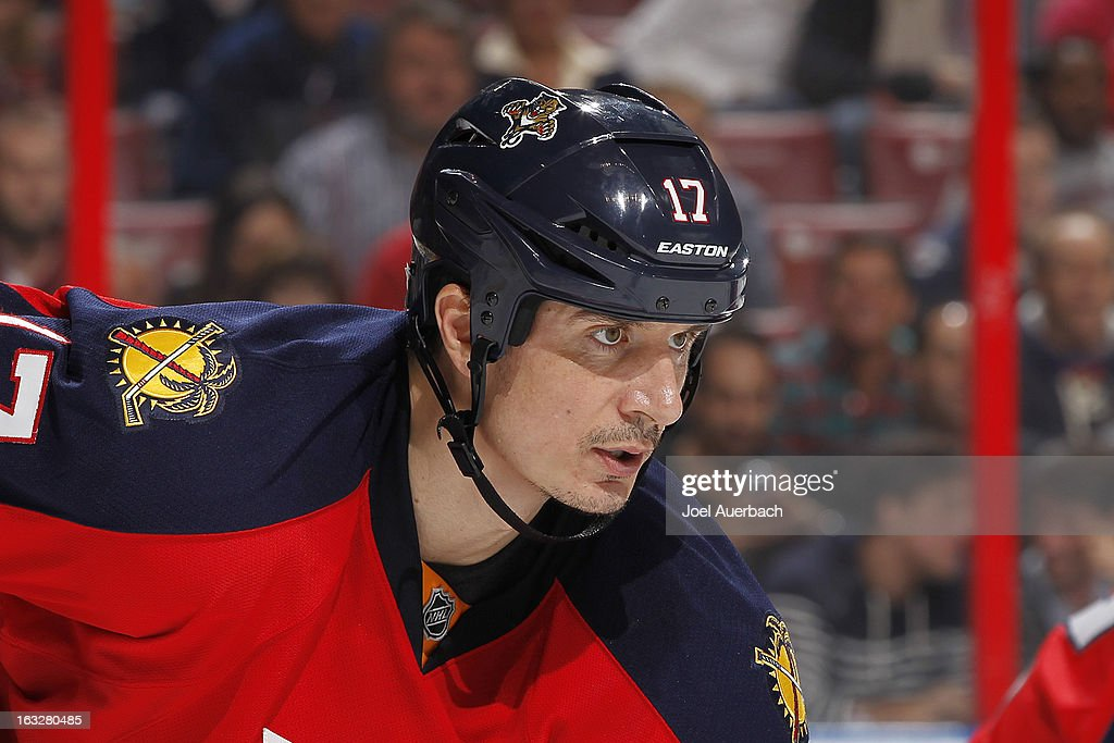 Filip Kuba #17 of the Florida Panthers prepares for a face-off against the Winnipeg Jets at the BB&T Center on March 5, 2013 in Sunrise, Florida. The Panthers defeated the Jets 4-1.