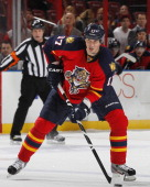 Filip Kuba of the Florida Panthers prepares to shoot the puck against the Buffalo Sabres at the BBT Center on February 28 2013 in Sunrise Florida The...