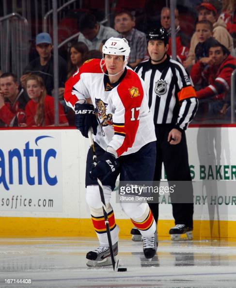 Filip Kuba of the Florida Panthers skates against the New Jersey Devils at the Prudential Center on April 20 2013 in Newark New Jersey The Devils...
