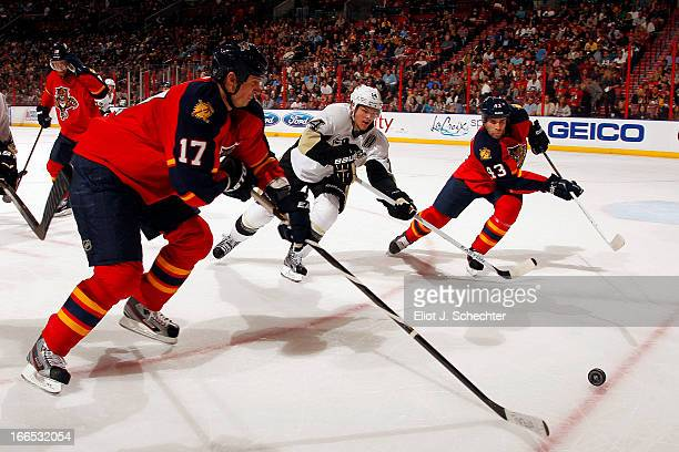 Filip Kuba of the Florida Panthers skates for possession against the Pittsburgh Penguins at the BBT Center on April 13 2013 in Sunrise Florida