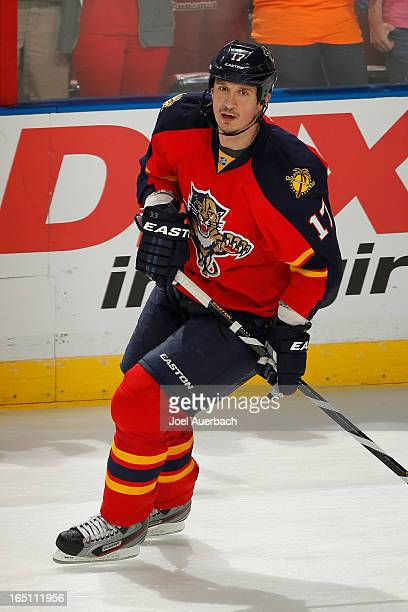 Filip Kuba of the Florida Panthers skates prior to the game against the New Jersey Devils at the BBT Center on March 30 2013 in Sunrise Florida