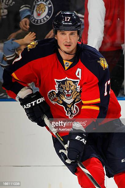 Filip Kuba of the Florida Panthers skates prior to the game against the Washington Capitals at the BBT Center on April 6 2013 in Sunrise Florida The...