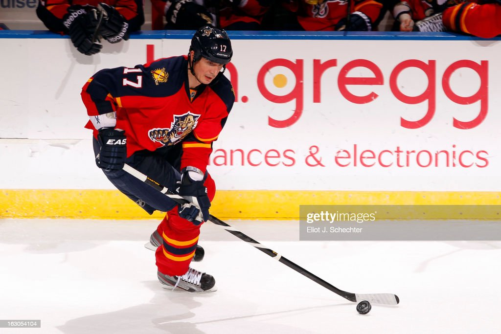 Filip Kuba #17 of the Florida Panthers skates with the puck against the Buffalo Sabres at the BB&T Center on February 28, 2013 in Sunrise, Florida.
