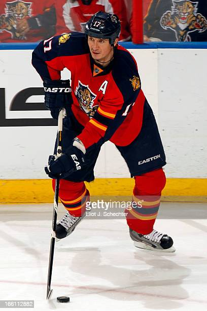 Filip Kuba of the Florida Panthers skates with the puck against the Washington Capitals at the BBT Center on April 6 2013 in Sunrise Florida
