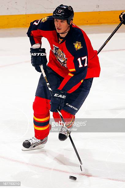Filip Kuba of the Florida Panthers skates with the puck against the Toronto Maple Leafs at the BBT Center on April 25 2013 in Sunrise Florida
