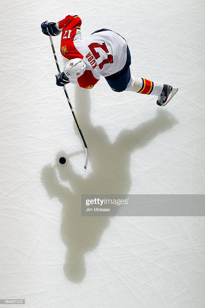 <a gi-track='captionPersonalityLinkClicked' href=/galleries/search?phrase=Filip+Kuba&family=editorial&specificpeople=209425 ng-click='$event.stopPropagation()'>Filip Kuba</a> #17 of the Florida Panthers warms up before a game against the New Jersey Devils at the Prudential Center on March 23, 2013 in Newark, New Jersey. The Devils defeated the Panthers 2-1.