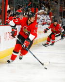 Filip Kuba of the Ottawa Senators skates during a game against the New York Rangers on September 20 2008 at the Scotiabank Place in Ottawa Canada The...