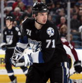 Filip Kuba of the Tampa Bay Lightning skates against the Colorado Avalanche at St Pete Times Forum on January 15 2008 in Tampa Florida